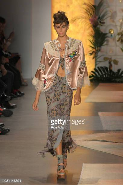 Model Kaia Gerber walks the runway for Anna Sui during New York Fashion Week: The Shows at Gallery I at Spring Studios on September 10, 2018 in New...