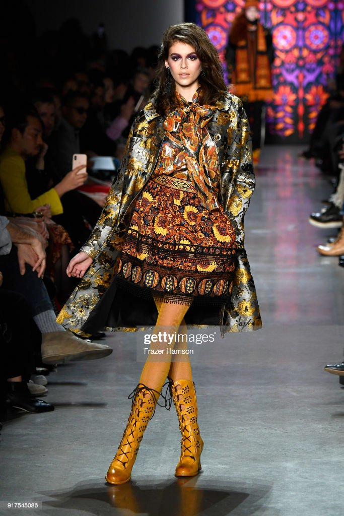 Model Kaia Gerber walks the runway for Anna Sui during New York Fashion Week: The Shows at Gallery I at Spring Studios on February 12, 2018 in New York City.
