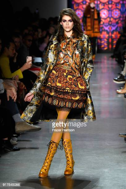 Model Kaia Gerber walks the runway for Anna Sui during New York Fashion Week The Shows at Gallery I at Spring Studios on February 12 2018 in New York...
