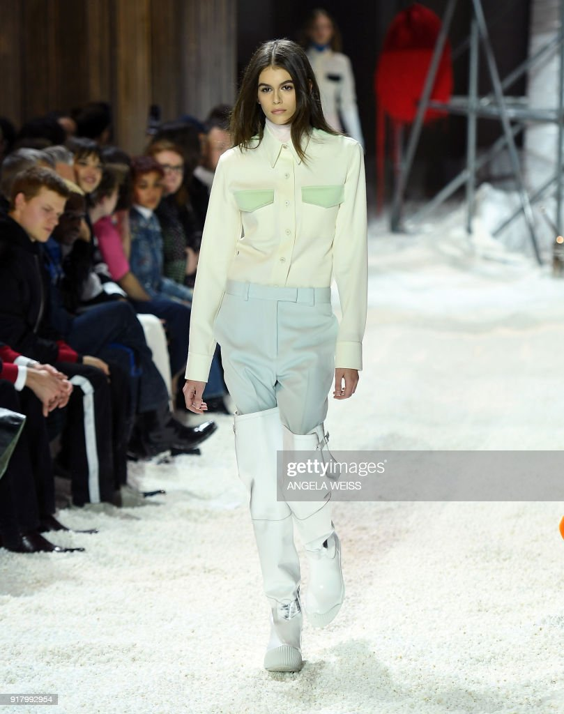 b146b3e8 Model Kaia Gerber walks the runway for Calvin Klein 205W39NYC during ...