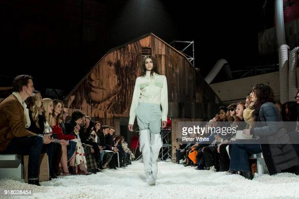 Model Kaia Gerber walks the runway for Calvin Klein during New York Fashion Week at the American Stock Exchange Building on February 13 2018 in New...