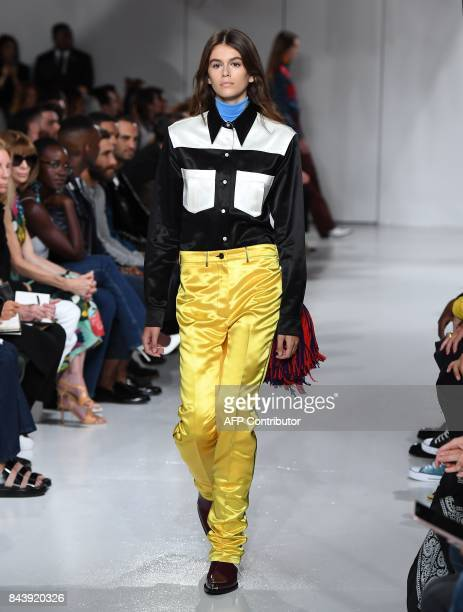 Model Kaia Gerber walks the runway for the Calvin Klein Collection fashion show during New York Fashion Week on September 7 2017 in New York City /...