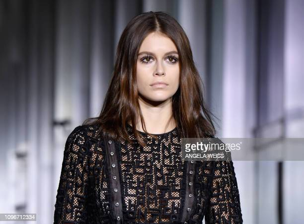 Model Kaia Gerber walks the runway for the Longchamp Fall/Winter 2019 show during New York Fashion Week on February 9 2019 in New York City