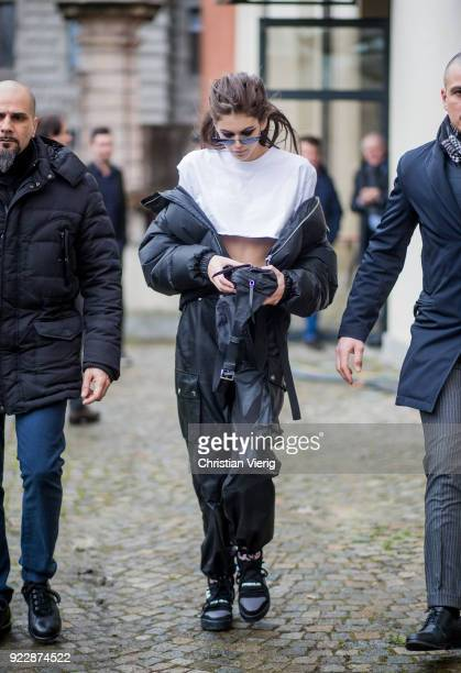 Model Kaia Gerber wearing black pants jacket white cropped top seen outside Max Mara during Milan Fashion Week Fall/Winter 2018/19 on February 22...