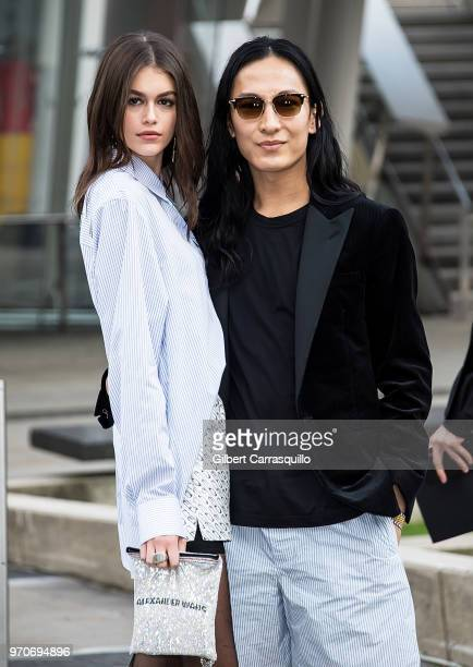 Model Kaia Jordan Gerber and fashion designer Alexander Wang are seen arriving to the 2018 CFDA Fashion Awards at Brooklyn Museum on June 4 2018 in...