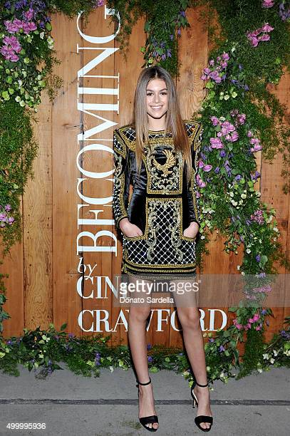 Model Kaia Jordan Gerber attends a book party in honor of 'Becoming' by Cindy Crawford hosted by Bill Guthy And Greg Renker at Eric Buterbaugh Floral...