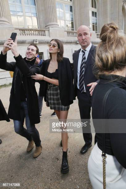 Model Kaia Jordan Gerber attends the Chanel show as part of the Paris Fashion Week Womenswear Spring/Summer 2018 on October 3 2017 in Paris France