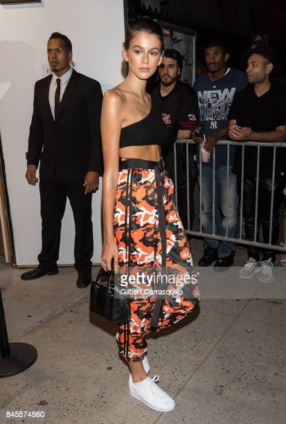 Model Kaia Jordan Gerber is seen arriving the FENTY PUMA by Rihanna Spring/Summer 2018 Collection at Park Avenue Armory on September 10 2017 in New...