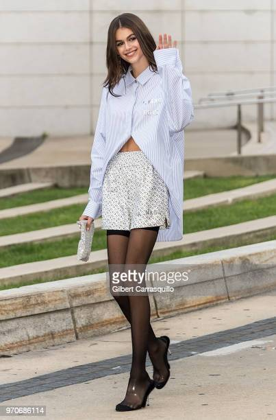 Model Kaia Jordan Gerber is seen arriving to the 2018 CFDA Fashion Awards at Brooklyn Museum on June 4 2018 in New York City