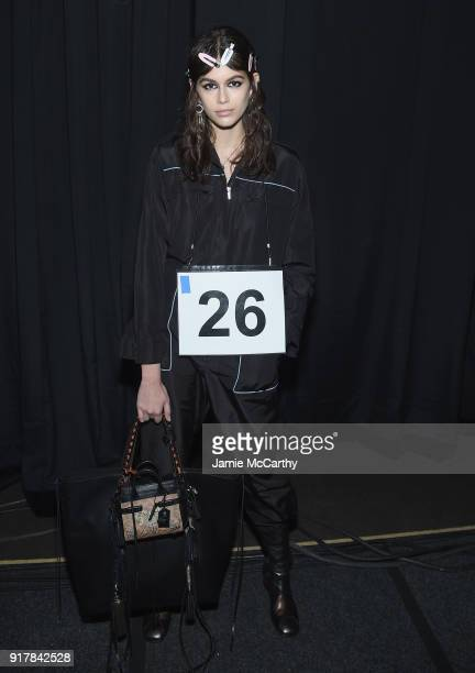 Model Kaia Jordan Gerber poses backstage for Coach 1941 during New York Fashion Week at Basketball City on February 13 2018 in New York City
