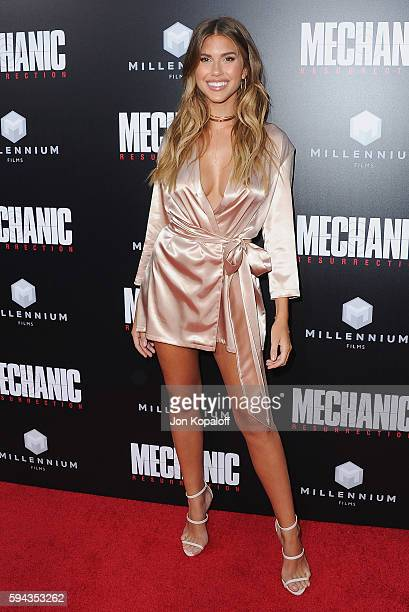 Model Kara Del Toro arrives at the Los Angeles Premiere 'Mechanic Resurrection' at ArcLight Hollywood on August 22 2016 in Hollywood California