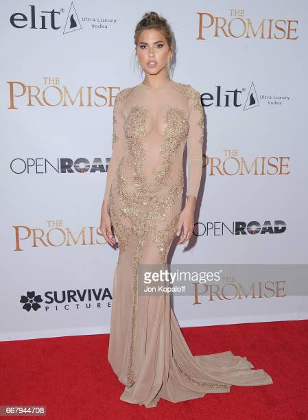 Model Kara Del Toro arrives at the Los Angeles Premiere 'The Promise' at TCL Chinese Theatre on April 12 2017 in Hollywood California