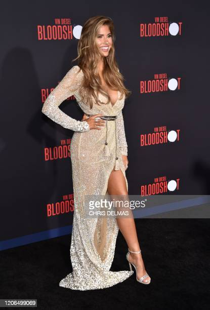 Model Kara Del Toro arrives for the premiere of Sony's Bloodshot at the Regency Village theatre on March 10 2020 in Westwood California