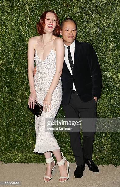 Model Karen Elson and designer Jason Wu attends CFDA and Vogue 2013 Fashion Fund Finalists Celebration at Spring Studios on November 11, 2013 in New...
