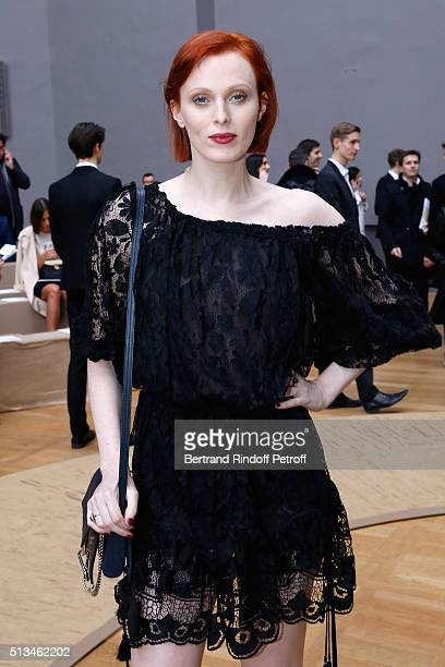 Model Karen Elson attends the Chloe show as part of the Paris Fashion Week Womenswear Fall/Winter 2016/2017 Held at Grand Palais on March 3 2016 in...