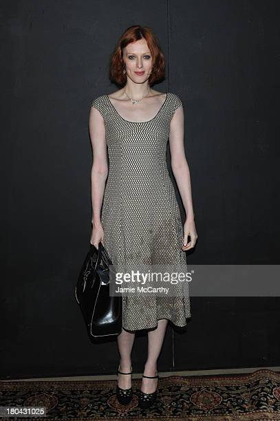 Model Karen Elson attends the Marc Jacobs fashion show during MercedesBenz Fashion Week Spring 2014 at the Lexington Avenue Armory on September 12...
