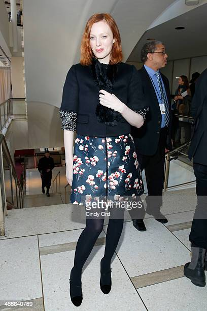 Model Karen Elson attends the Tory Burch fashion show during MercedesBenz Fashion Week Fall 2014 at Avery Fisher Hall at Lincoln Center for the...