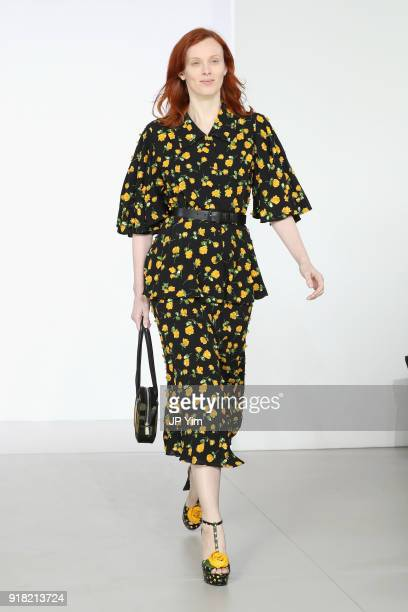 Model Karen Elson walks the runway during the Michael Kors Collection Fall 2018 Runway Show at Vivian Beaumont Theatre at Lincoln Center on February...