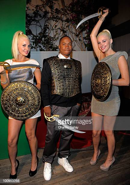 Model Karissa Shannon actor Sam Jones III and model Kristina Shannon attend the launch of the Prince of Persia video game presented by Ubisoft and...