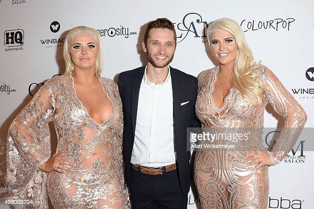Model Karissa Shannon cofounder of Generosityorg Jordan Wagner and model Kristina Shannon arrive at the GLAM Beverly Hills salon grand opening and...
