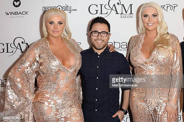 Model Karissa Shannon fashion designer Walter Mendez and model Kristina Shannon arrive at the GLAM Beverly Hills salon grand opening and ribbon...