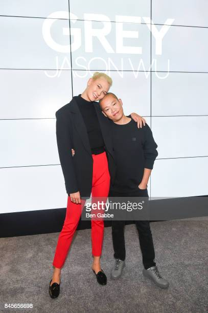 Model Karlie Kloss and designer Jason Wu attend the Grey Jason Wu Presentation during New York Fashion Week at the Cadillac House on September 11...