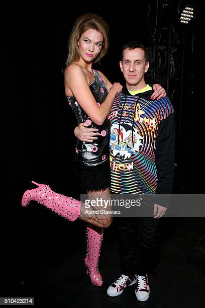 Model Karlie Kloss and designer Jeremy Scott pose backstage at the Jeremy Scott Fall 2016 fashion show during New York Fashion Week The Shows at The...
