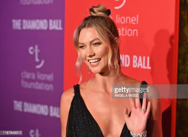 US model Karlie Kloss arrives for Rihanna's 5th Annual Diamond Ball Benefitting The Clara Lionel Foundation at Cipriani Wall Street on September 12...