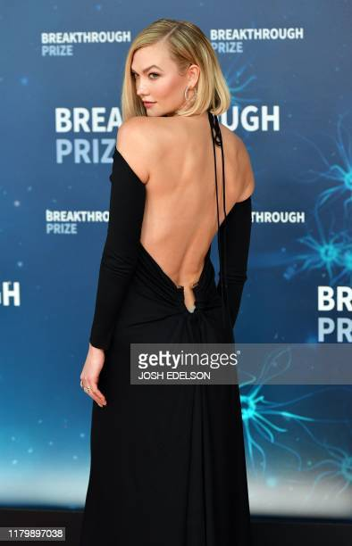 US model Karlie Kloss arrives for the 8th annual Breakthrough Prize awards ceremony at NASA Ames Research Center in Mountain View California on...