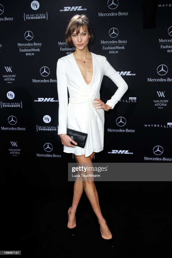Model Karlie Kloss attends Schumacher Autumn/Winter 2013/14 Fashion Show during Mercedes-Benz Fashion Week Berlin at Brandenburg Gate on January 17, 2013 in Berlin, Germany. on January 17, 2013 in Berlin, Germany.