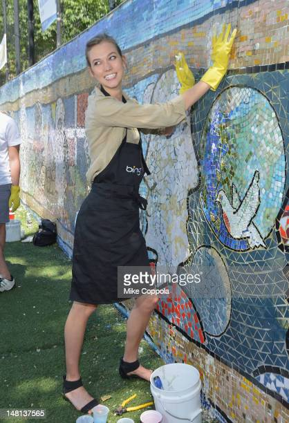 Model Karlie Kloss attends the Bing 'Summer Of Doing' Celebrity Volunteer Event at Jacob H Schiff Playground on July 10 2012 in New York City