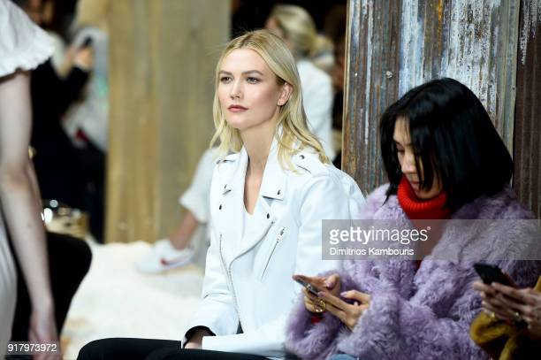 Model Karlie Kloss attends the Calvin Klein Collection front row during New York Fashion Week at New York Stock Exchange on February 13 2018 in New...