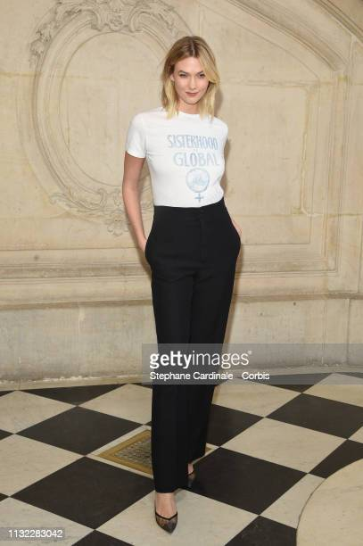 Model Karlie Kloss attends the Christian Dior show as part of the Paris Fashion Week Womenswear Fall/Winter 2019/2020 on February 26 2019 in Paris...