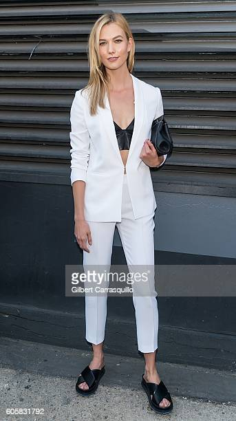 Model Karlie Kloss is seen arriving at Boss Womenswear fashion show during New York Fashion Week September 2016 at The Gallery Skylight at Clarkson...