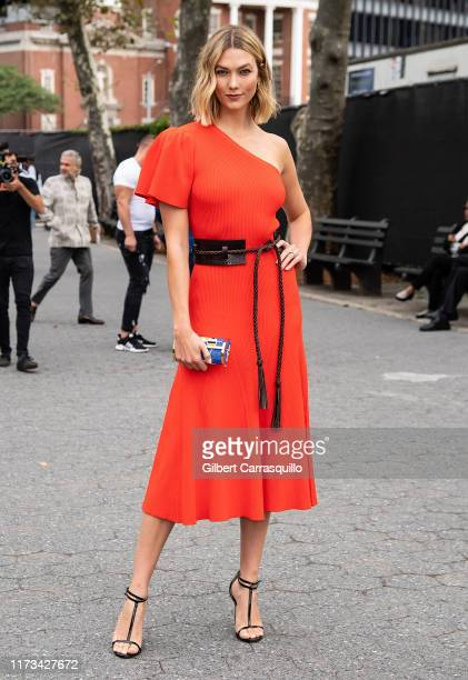 Model Karlie Kloss is seen arriving to Carolina Herrera fashion show during New York Fashion Week on September 09, 2019 in New York City.