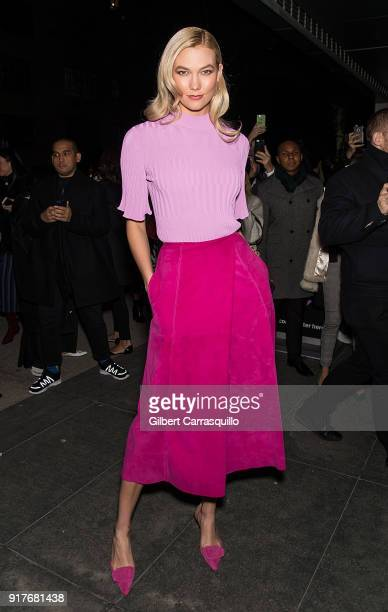 Model Karlie Kloss is seen arriving to the Carolina Herrera fashion show during New York Fashion Week at the Museum of Modern Art on February 12 2018...