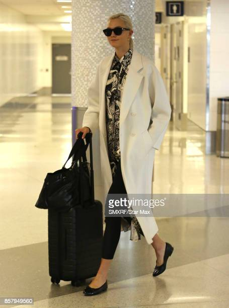 Model Karlie Kloss is seen at Los Angeles International Airport on October 5 2017 in Los Angeles California
