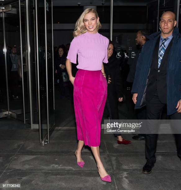 Model Karlie Kloss is seen leaving the Carolina Herrera fashion show during New York Fashion Week at the Museum of Modern Art on February 12 2018 in...