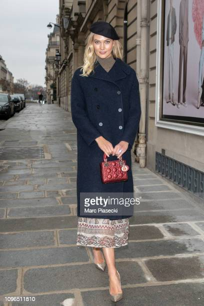 Model Karlie Kloss is seen leaving the DIOR office building on January 19 2019 in Paris France
