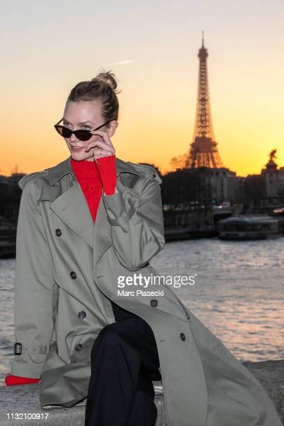 Model Karlie Kloss is seen on the Pont de la Concorde on February 25 2019 in Paris France