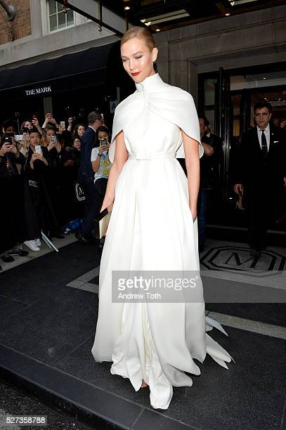 Model Karlie Kloss leaves from The Mark Hotel for the 2016 Manus x Machina Fashion in an Age of Technology Met Gala on May 2 2016 in New York City