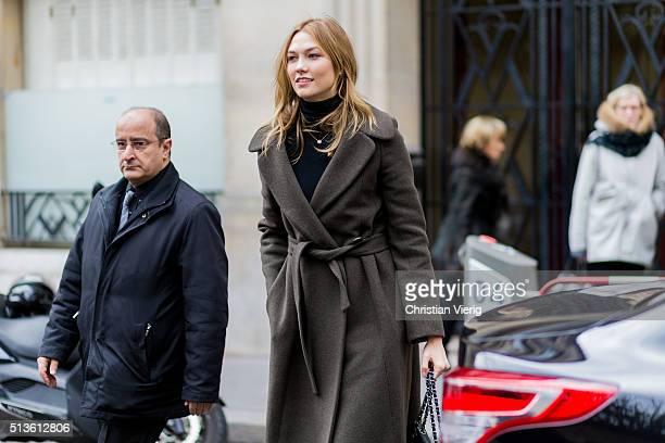 Model Karlie Kloss outside Balmain during the Paris Fashion Week Womenswear Fall/Winter 2016/2017 on March 3 2016 in Paris France