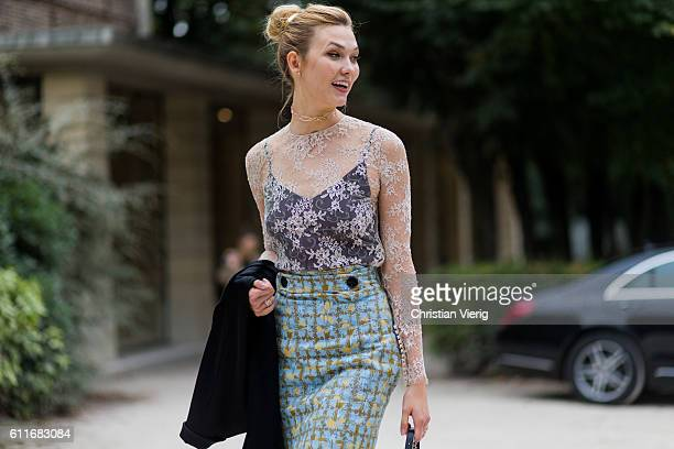 Model Karlie Kloss outside Dior on September 30 2016 in Paris France