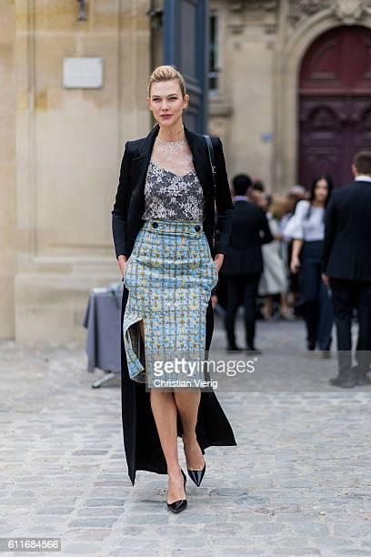 Model Karlie Kloss outside of Dior on September 30 2016 in Paris France