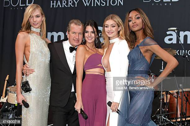Model Karlie Kloss photographer Mario Testino models Kendall Jenner Gigi Hadid and Jourdan Dunn attend amfAR's 22nd Cinema Against AIDS Gala...
