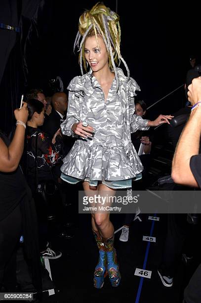 Model Karlie Kloss prepares backstage at the Marc Jacobs Spring 2017 fashion show at the Hammerstein Ballroom on September 15 2016 in New York City