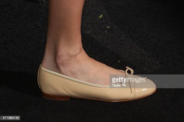 Model Karlie Kloss shoe detail attends the 2015 Tribeca Film Festival Chanel Artists' Dinner at Balthazar on April 20 2015 in New York City