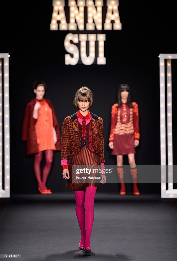 Model Karlie Kloss walks the runway at the Anna Sui Fall 2013 fashion show during Mercedes-Benz Fashion Week at The Theatre at Lincoln Center on February 13, 2013 in New York City.