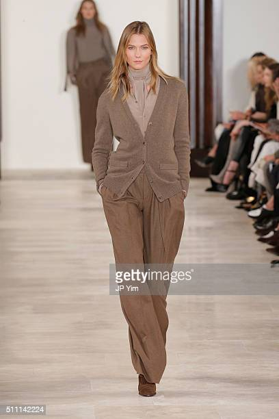 Model Karlie Kloss walks the runway wearing Ralph Lauren Fall 2016 during New York Fashion Week The Shows at Skylight Clarkson Sq on February 18 2016...
