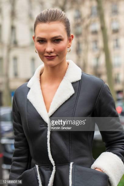 Model Karlie Kloss wears all Loewe on February 28, 2020 in Paris, France.